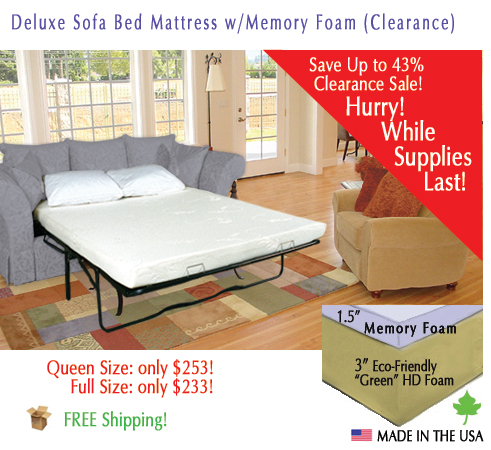Deluxe Sleeper Sofa Memory Foam Mattress Replacement