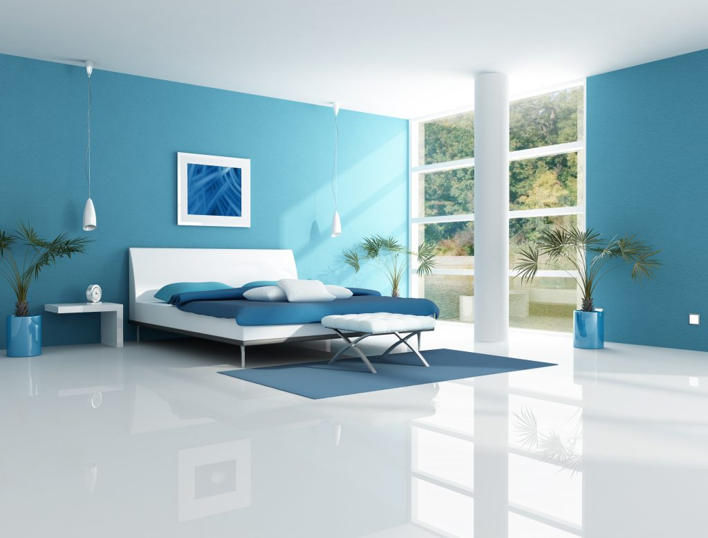 Bedroom designs for couples in blue - Contemporary Blue Bedroom