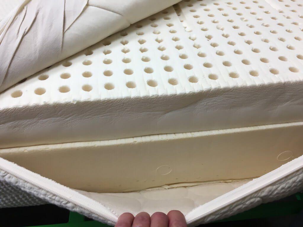 Inside a latex mattress