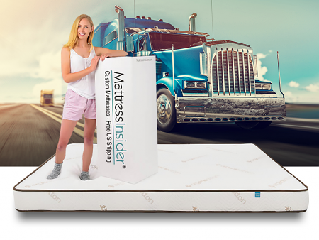 Elation mattress with model and box with truck in background