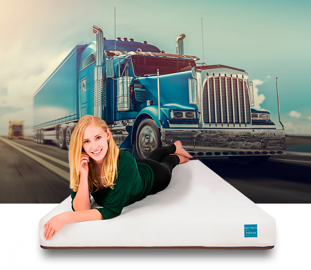 Deluxe Truck Mattress with Model and Truck in Background