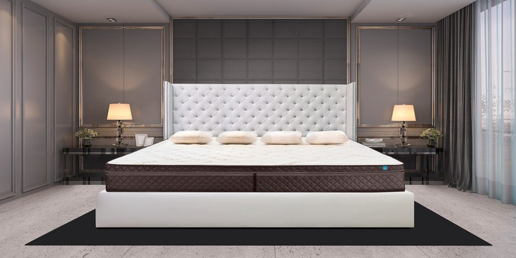 Tufted White Alaskan King Bed Frame with Mattress and Sheets