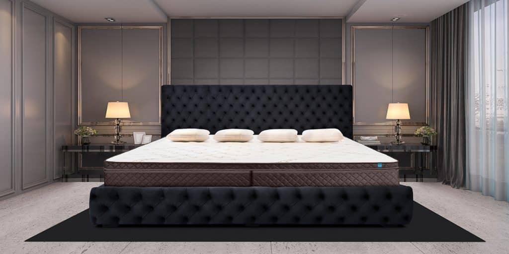 Tufted Black Alaskan King Bed Frame with Mattress