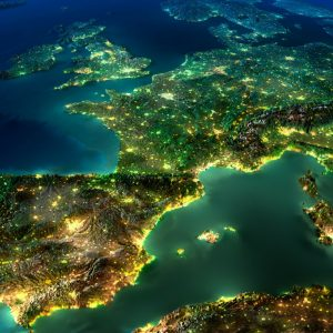 size of Europe at night