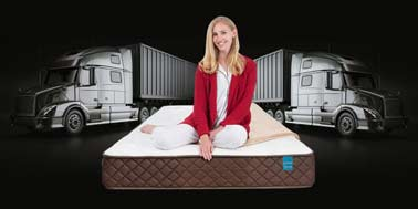 Park Meadow Pocketed Coil Mattress with Model on Mattress