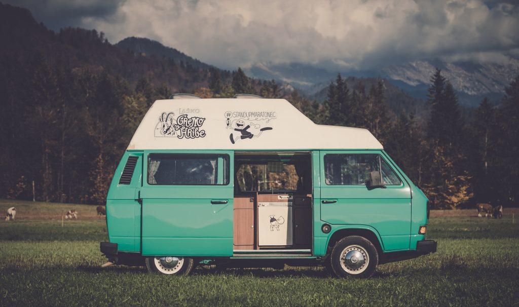 van camping in field